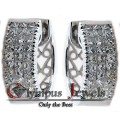 1.90CT CERTIFIED DIAMOND HUGGIE HOOP EARRINGS 18KW